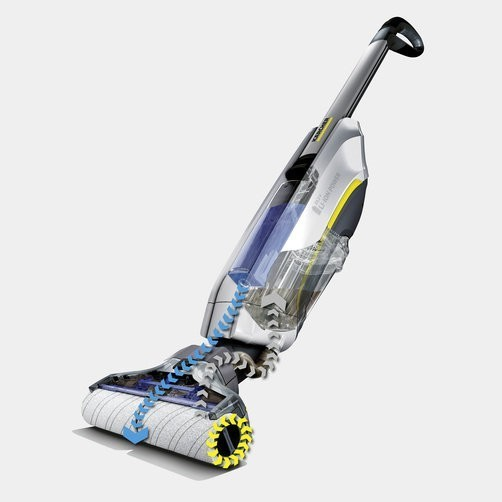 Self-cleaning function through automatic removal of dirt from the rollers