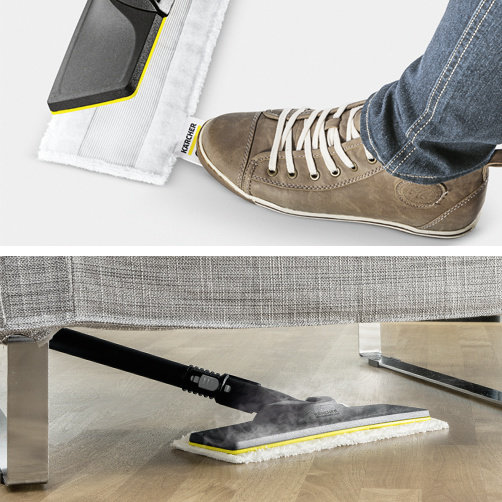EasyFix floor cleaning kit with flexible connection and convenient hook-and-loop cleaning cloth lock.